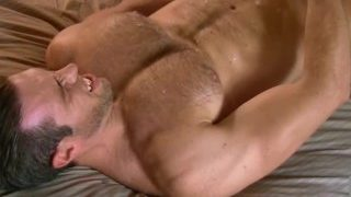 Alex Mecum jerks on his hairy pecs and Face